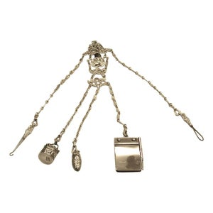 Victorian Silver Chatelaine with 5 Attachments, William Comyns, London Assay