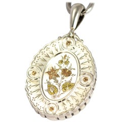 Victorian Silver Collar and Two-Tone Gold Overlay Locket