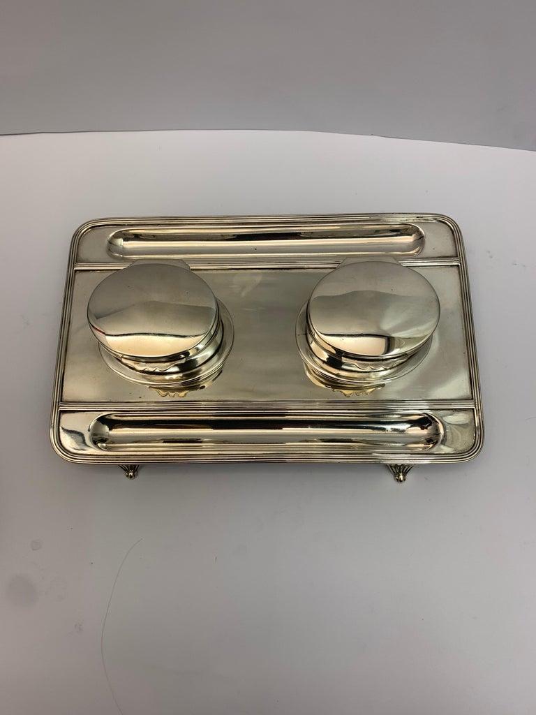 English Victorian Silver Double Lidded Inkwell For Sale