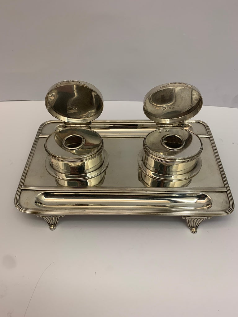 Victorian Silver Double Lidded Inkwell In Good Condition For Sale In London, London