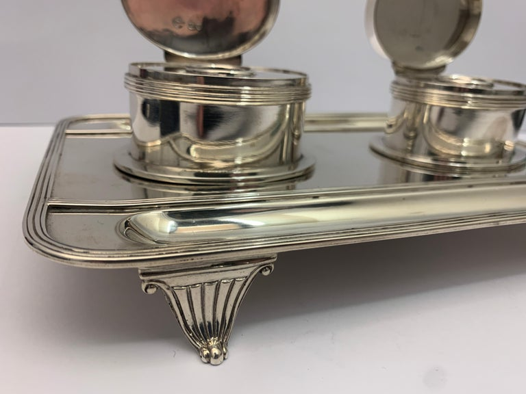 Late 19th Century Victorian Silver Double Lidded Inkwell For Sale
