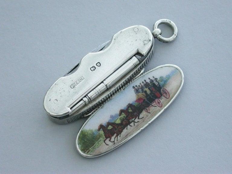 Victorian Silver & Enamel Combination Vesta Case/Pencil/Pen Knife Coaching Scene 6