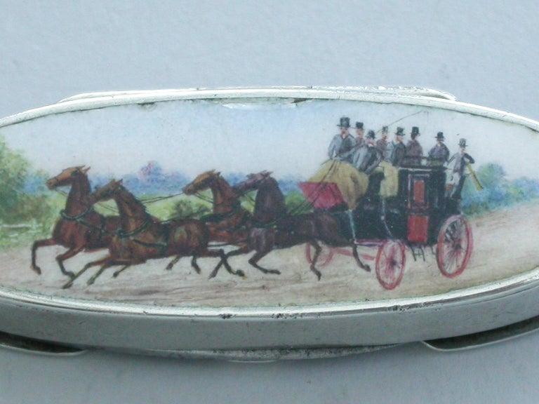 English Victorian Silver & Enamel Combination Vesta Case/Pencil/Pen Knife Coaching Scene