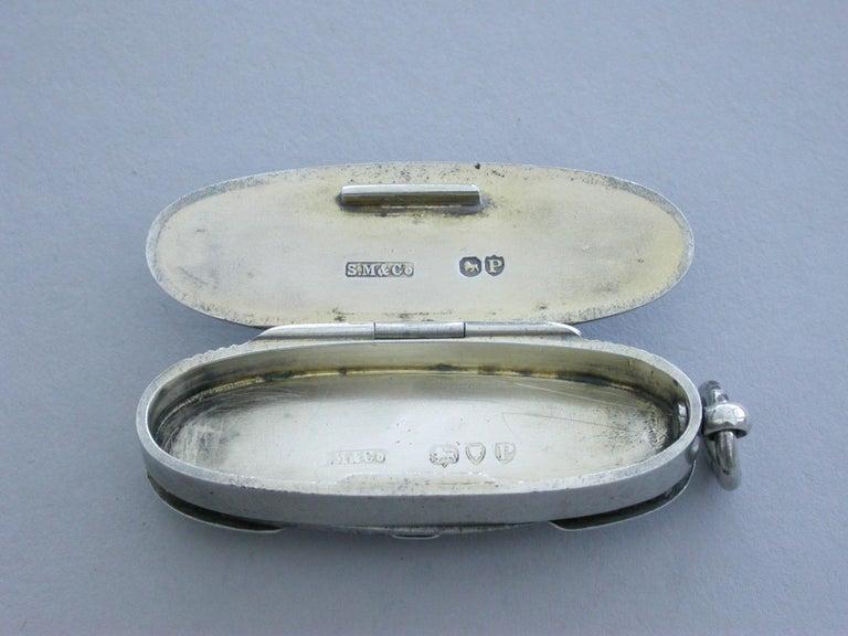 Victorian Silver & Enamel Combination Vesta Case/Pencil/Pen Knife Coaching Scene 1