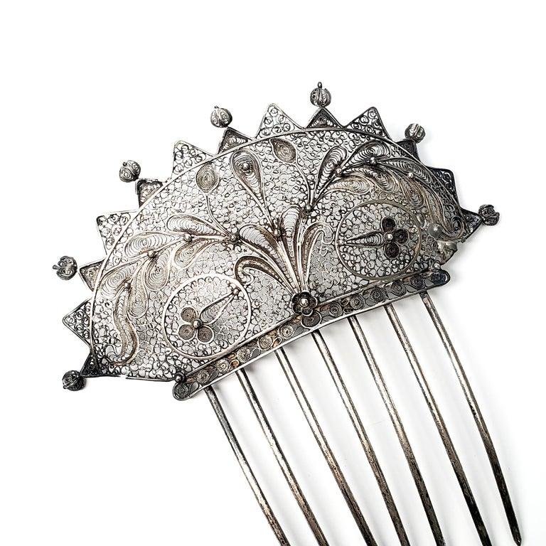 Women's Victorian Silver Filigree Hair Comb