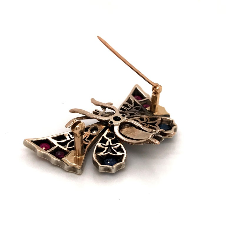 Rose Cut Victorian Silver-Gilt Diamond, Sapphire, Ruby and Pearl Butterfly Brooch For Sale