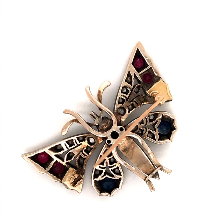 Victorian Silver-Gilt Diamond, Sapphire, Ruby and Pearl Butterfly Brooch In Excellent Condition For Sale In Westport, CT