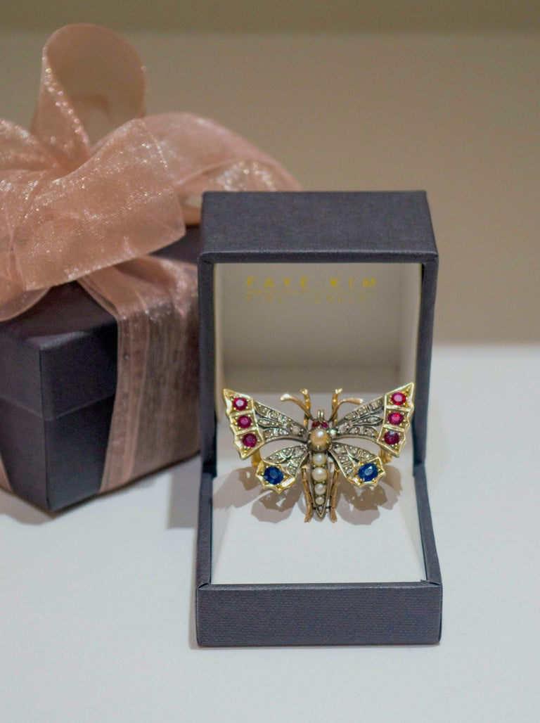 Women's Victorian Silver-Gilt Diamond, Sapphire, Ruby and Pearl Butterfly Brooch For Sale