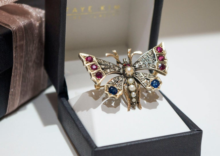 Victorian Silver-Gilt Diamond, Sapphire, Ruby and Pearl Butterfly Brooch For Sale 1