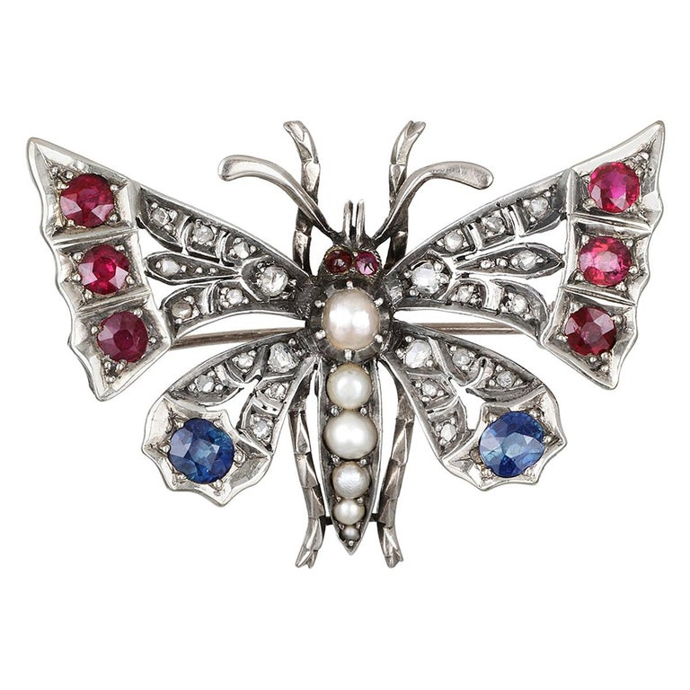 Victorian Silver-Gilt Diamond, Sapphire, Ruby and Pearl Butterfly Brooch For Sale