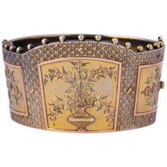 Victorian Silver Gilt, Yellow Gold and Rose Gold Bangle