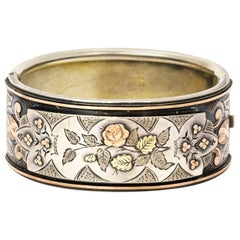 Victorian Silver Gold Overlay Foliate Bangle