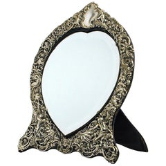Victorian Silver Heart-Shaped Mirror