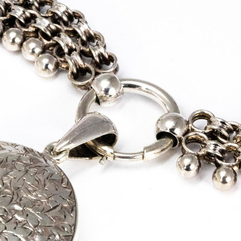 Victorian Silver Locket and Collar Necklace In Good Condition For Sale In Chipping Campden, GB