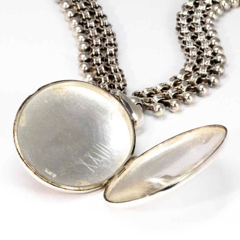 Victorian Silver Locket and Collar Necklace For Sale 1
