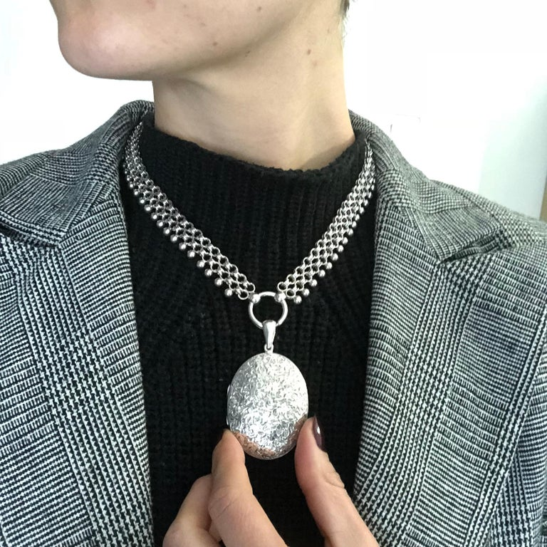 Victorian Silver Locket and Collar Necklace For Sale 2