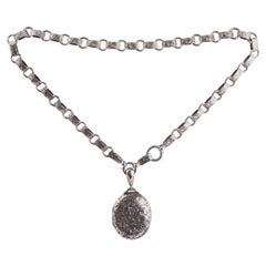 Victorian Silver Locket and Collar Necklace