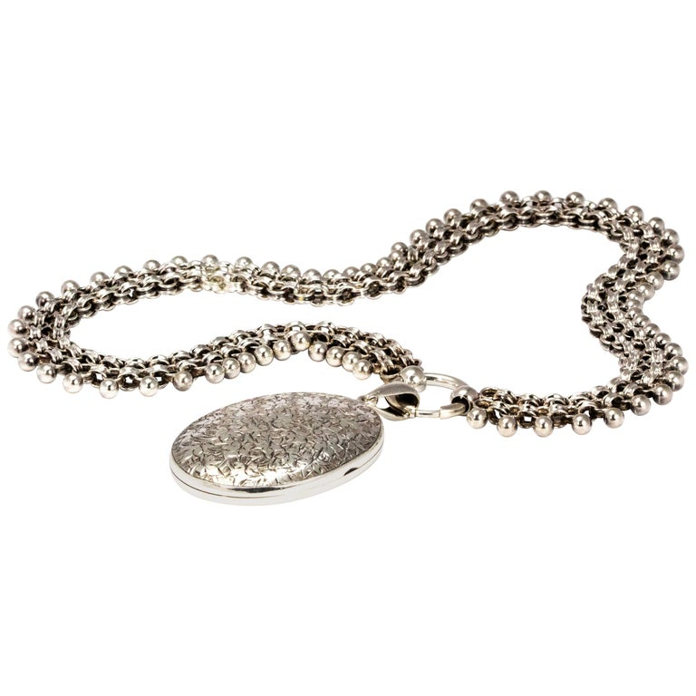 Victorian Silver Locket and Collar Necklace For Sale