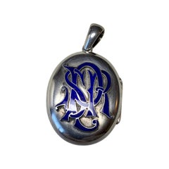 Victorian Silver Locket with Royal Blue Enamel Monogram