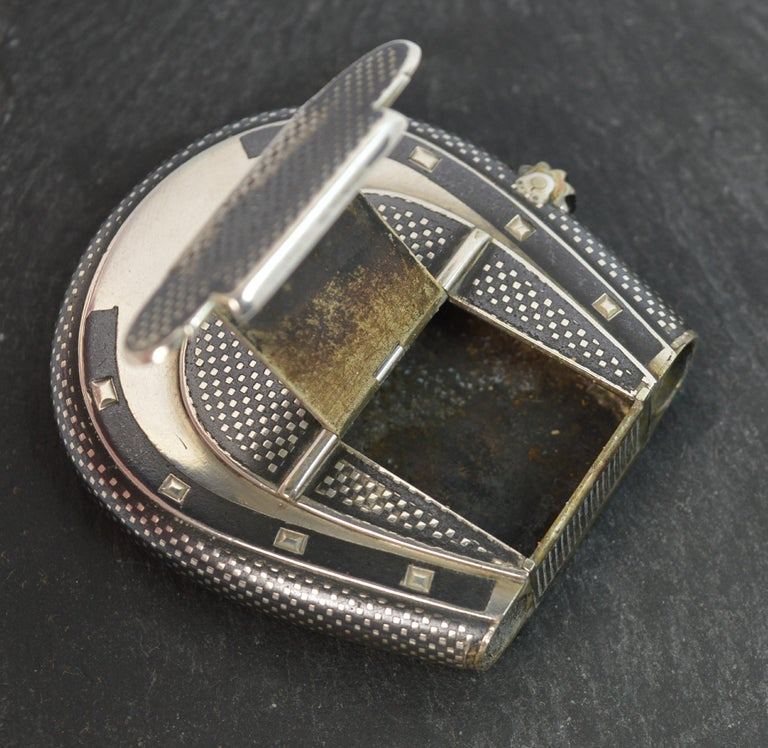 Victorian Silver Niello Enamel and Gold Horseshoe Vesta Case and Lighter For Sale 6
