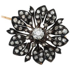 Victorian Silver on Gold Diamond Flower Brooch or Pendant, circa 1860