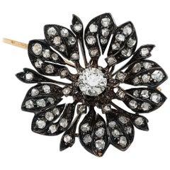 Victorian Silver on Gold Diamond Flower Brooch or Pendant, circa 1860