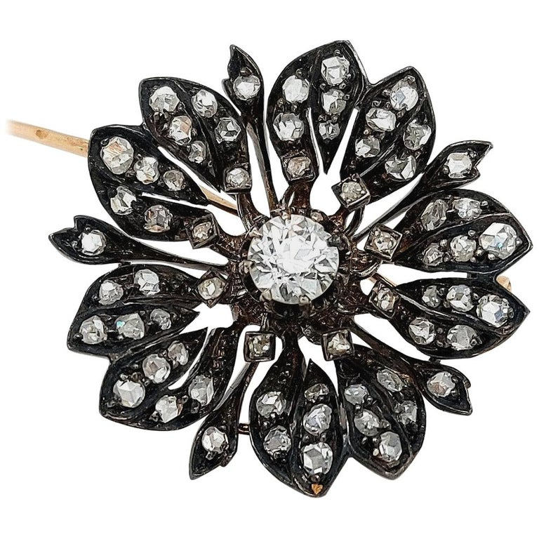Victorian Silver on Gold Diamond Flower Brooch or Pendant, circa 1860 For Sale