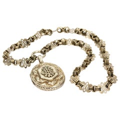 Victorian Silver Ornate Necklace and Locket