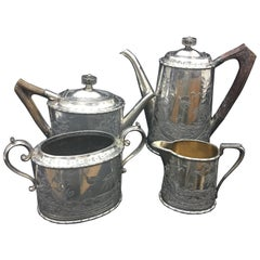 Victorian Silver Plate and Horn English Tea Set by Atkin Brothers, circa 1890