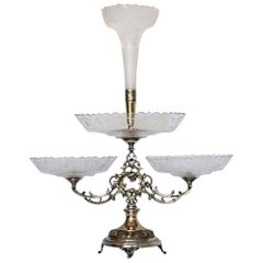 Victorian Silver Plate Handcut Crystal Epergne Centerpiece, England, 1880-1889