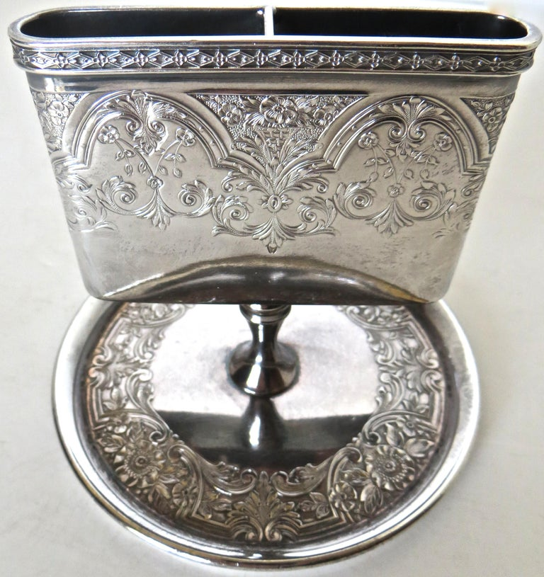 Victorian Silver Plate Match Holder, American, circa 1898 In Excellent Condition For Sale In Incline Village, NV