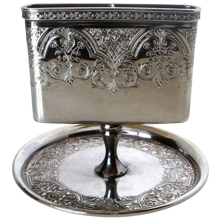 Victorian Silver Plate Match Holder, American, circa 1898 For Sale