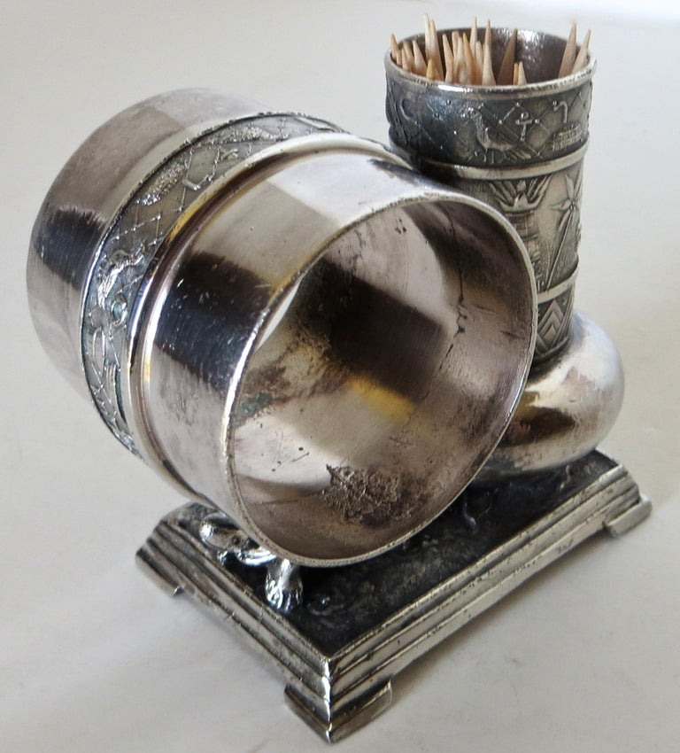 As with all Victorian figurals, this combination silver plated Turtle napkin ring and attached bud vase is much sough after by Americana collectors. Rings were used, not only for entertaining and special occasions, but also to identify each member