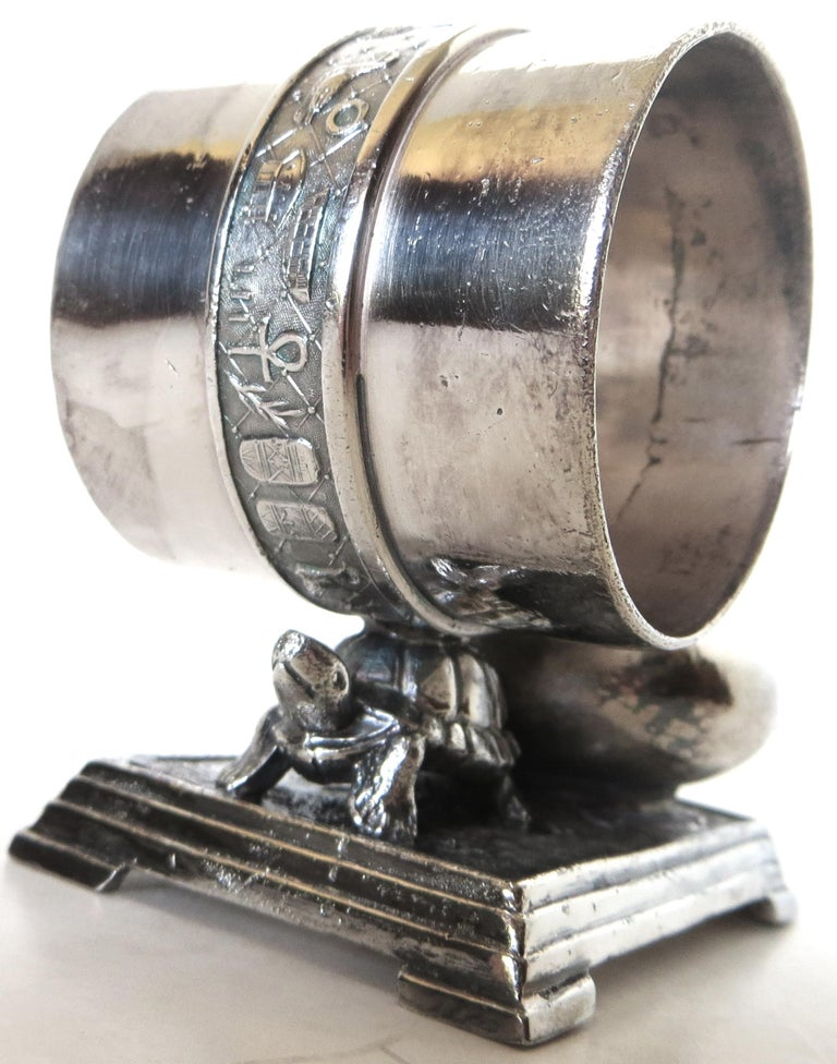 Silvered Victorian Silver Plate Turtle Napkin Ring and Bud Vase, American, circa 1880 For Sale
