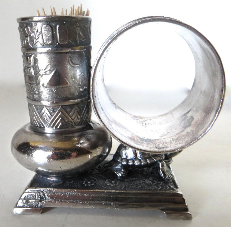 Victorian Silver Plate Turtle Napkin Ring and Bud Vase, American, circa 1880 In Excellent Condition For Sale In Incline Village, NV