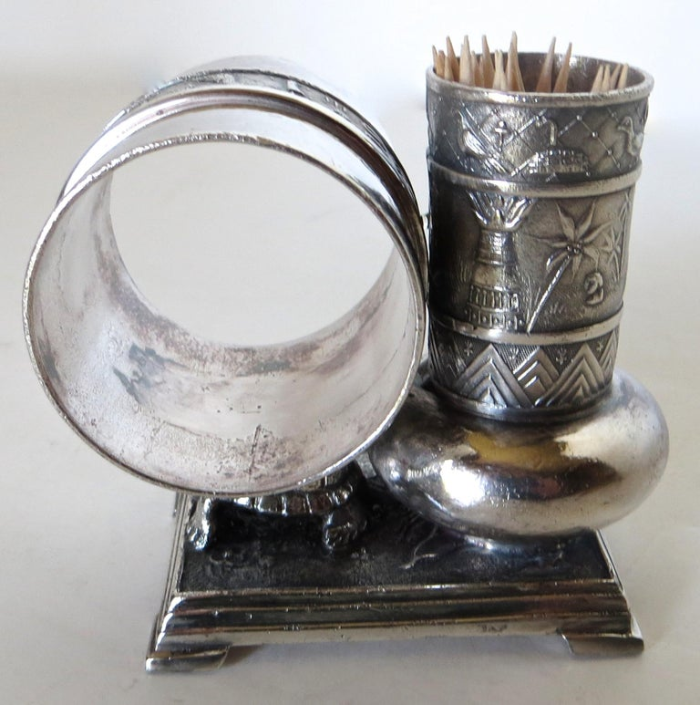 Late 19th Century Victorian Silver Plate Turtle Napkin Ring and Bud Vase, American, circa 1880 For Sale