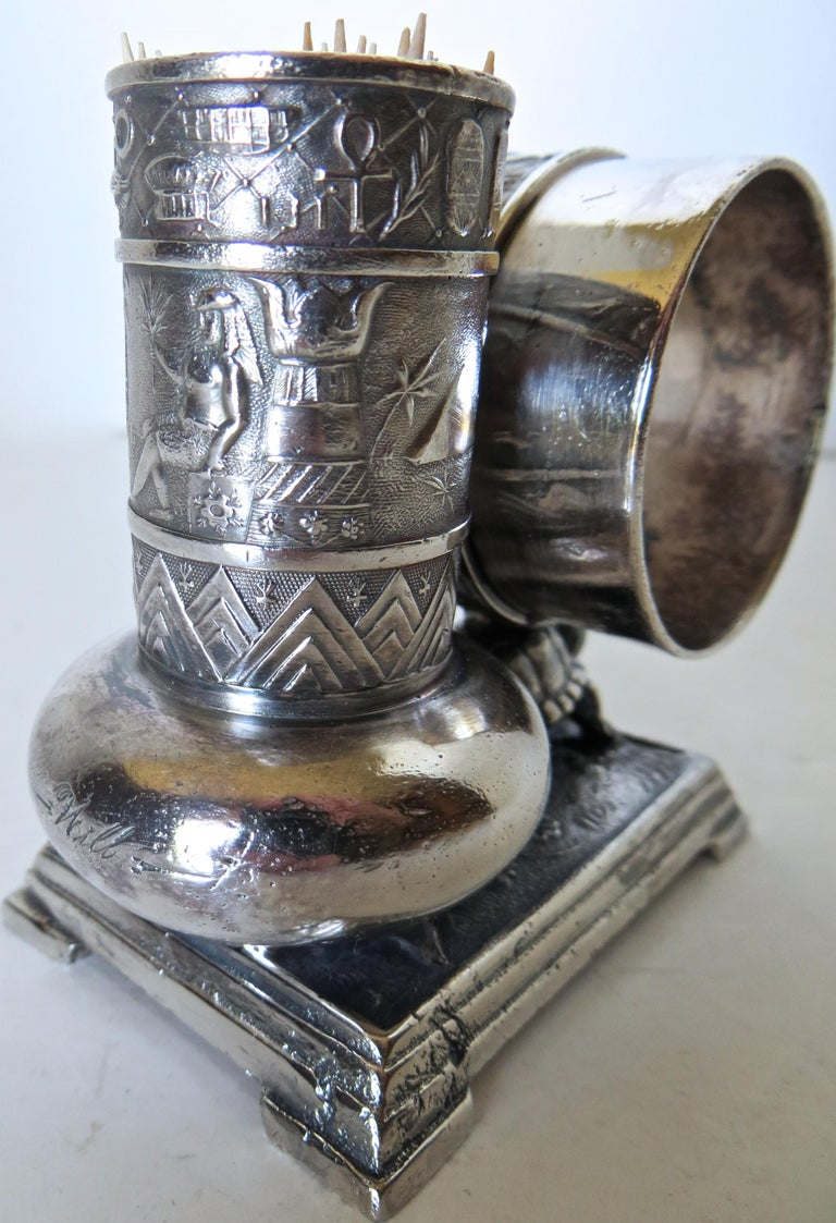 Metal Victorian Silver Plate Turtle Napkin Ring and Bud Vase, American, circa 1880 For Sale