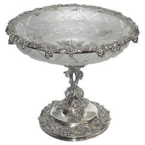 Victorian Silver Plated and Cut Frosted Glass Grape Stand, Elkington, circa 1850