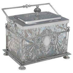 Victorian Silver Plated Biscuit Box by William Hutton & Sons, Circa 1890