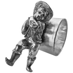 Victorian Silver Plated Figural Napkin Ring (Boy On Ring) . American, Circa 1880