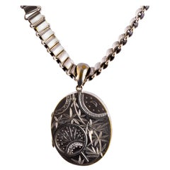 Victorian Silver Plated Locket and Collar Chain Necklace