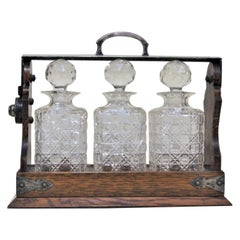 Victorian Silver Plated and Oak Tantalus