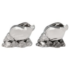 Victorian Silver Plated Pair of 'Nautilus Shell' Spoon Warmers by Atkin Brothers