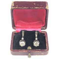 Victorian Silver Set 2.33 Carat Old Mine Cut Diamond Earrings