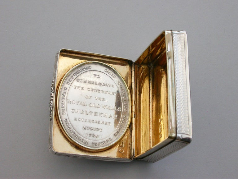 Victorian Silver Snuff Box 'Royal Old Wells Cheltenham' By Nathaniel Mills 1838 For Sale 7