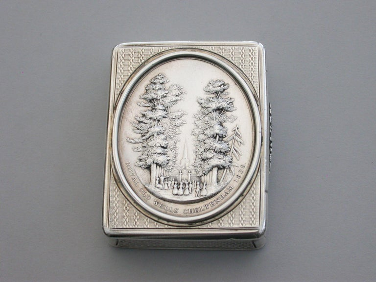 English Victorian Silver Snuff Box 'Royal Old Wells Cheltenham' By Nathaniel Mills 1838 For Sale