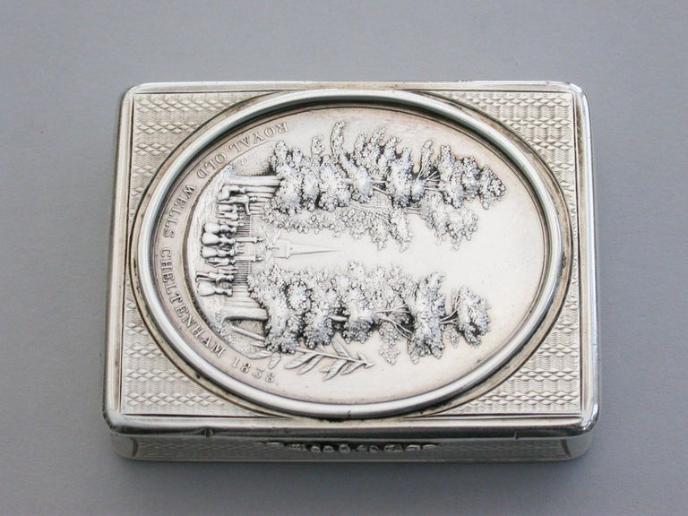 Mid-19th Century Victorian Silver Snuff Box 'Royal Old Wells Cheltenham' By Nathaniel Mills 1838 For Sale