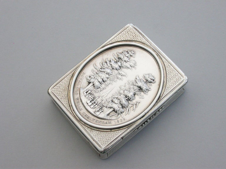 Victorian Silver Snuff Box 'Royal Old Wells Cheltenham' By Nathaniel Mills 1838 For Sale 1