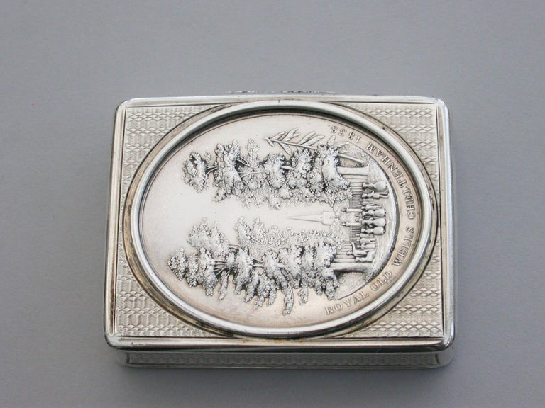 Victorian Silver Snuff Box 'Royal Old Wells Cheltenham' By Nathaniel Mills 1838 For Sale 2