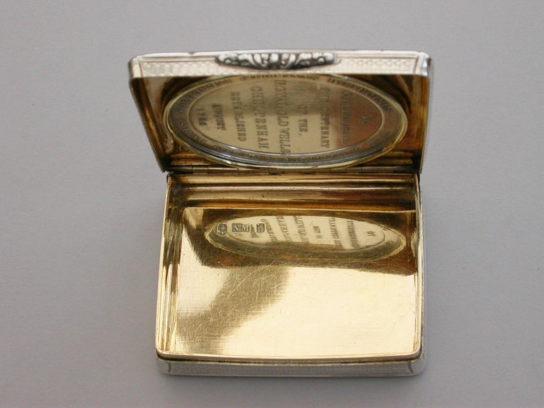 Victorian Silver Snuff Box 'Royal Old Wells Cheltenham' By Nathaniel Mills 1838 For Sale 4